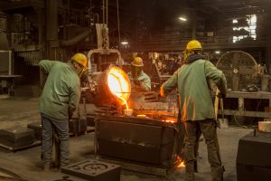 Iron Foundry Workers Casting